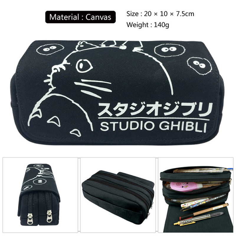 1pc/lot Black Totoro Pen Bags Double Zippers Pencil Bag Pencil Case Stationery Container School Supplies Canvas Kids Gifts 20cm zippers double buckle canvas backpack