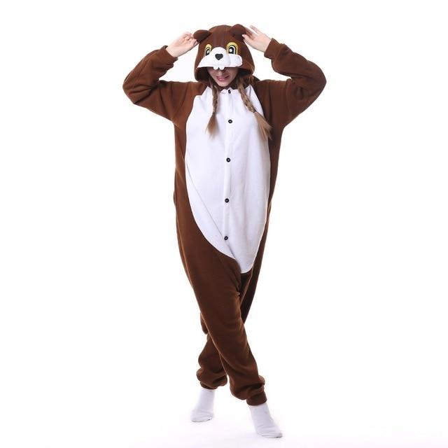 e819992da29c Adult Squirrel Onesie Pajamas Sleepwear Pyjamas Cosplay Costume Unisex  Cartoon Sleepsuit