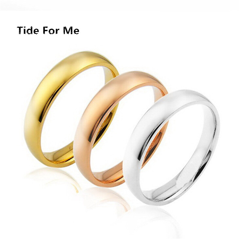2017 New vintage 4mm Gold Titanium Steel Titanium Steel stainless steel Ring Mens Jewelry bague Wedding Band male ring for lover