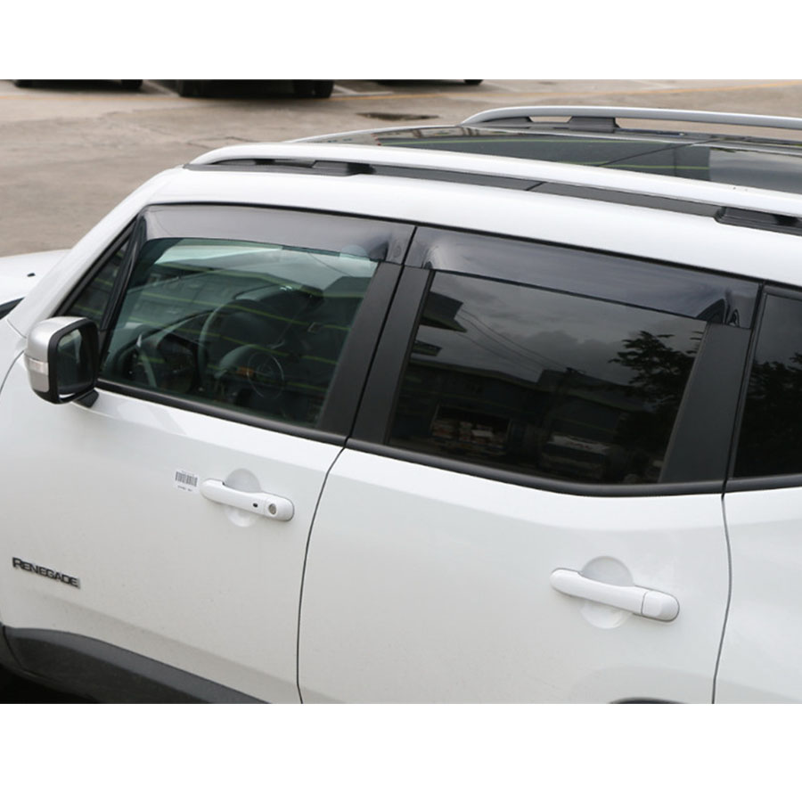 Car Exterior Window Roof Cover Rain Decor Strips Stickers 4PCS/Set Resin For Jeep Renegade 15 16