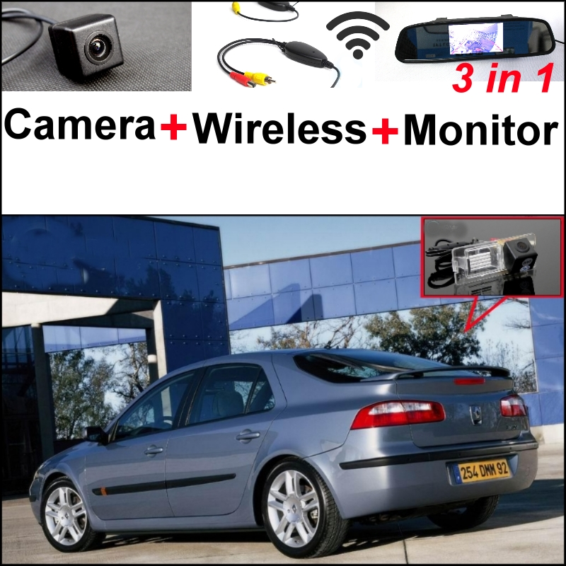3 in1 Special Rear View Camera + Wireless Receiver + Mirror Monitor Easy Parking System For Renault Laguna 2 3 wireless pager system 433 92mhz wireless restaurant table buzzer with monitor and watch receiver 3 display 42 call button