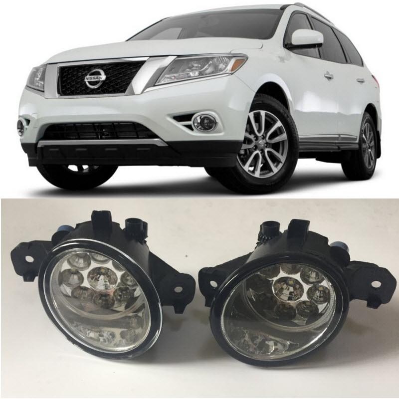 Car Styling 9-Pieces Leds Fog Lights H11 H8 12V 55W Halogen LED Fog Head Lamp For Nissan Pathfinder 2013 2014 2015 2016 2017 halogen fog lamp for nissan terrano 2005 2015 12v 55w fog lamp front fog lamp