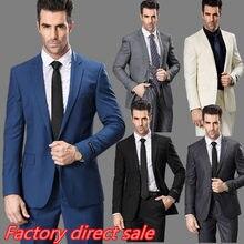 Slim fit мужской костюм джентльмен стиль с длинным рукавом деловые костюмы королевский синий цвет свадебные костюмы для мужчин