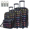 """DAVIDJONES 20"""" 24"""" 28"""" Vintage Print 4 Piece Luggage Set  WomenTravel Bags Lightweight Suitcase With Wheel Oxford canves case"""