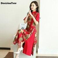 2019 summer cheongsam vintage chinese traditional dress women qipao cotton linen flower printed chinese qipao plus modern