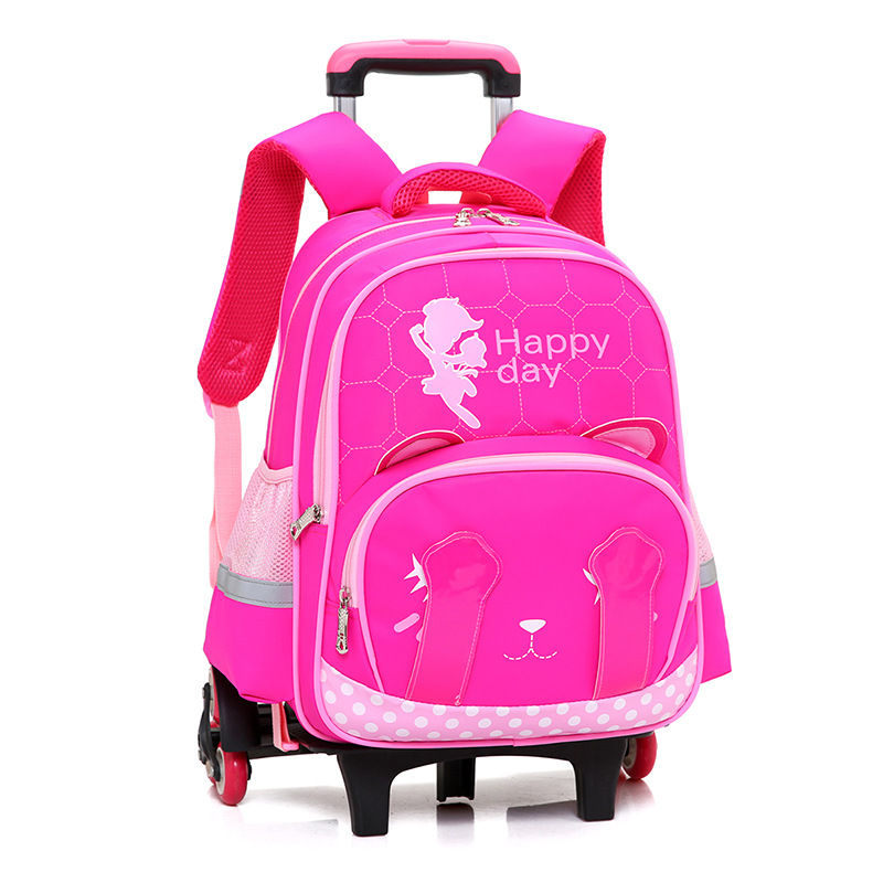 где купить 2017 children Trolley School Backpack Wheels Children School Bags For Girls Kids Travel Bag Schoolbag Detachable Mochila Escolar по лучшей цене