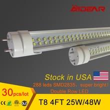 STOCK IN USA Super Bright T8 LED Tube 4ft 1.2m 1200mm LED Lamp Bulbs Lights  25W 28W