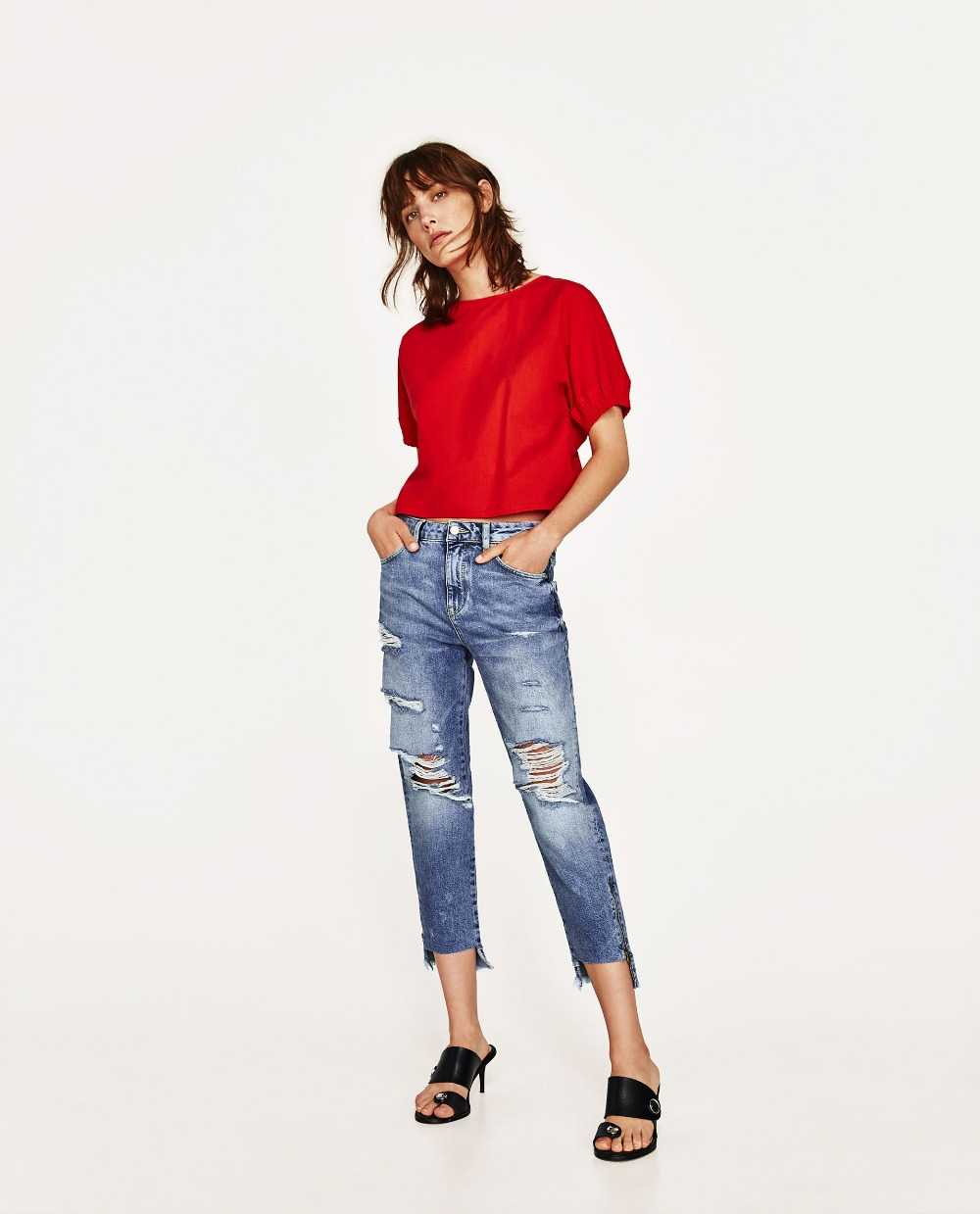 2017 Fashion Cotton Women Jeans High Waist Side zipper trim trousers Ladies Big Hole Ripped Straight