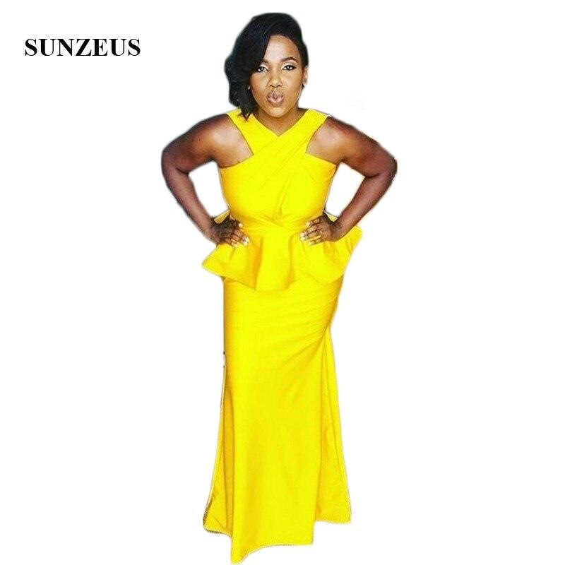African Bridesmaids Dresses Long Yellow Jersey Bridesmaid Gowns With Peplum Wedding Party Dresses vestido longo SAU386
