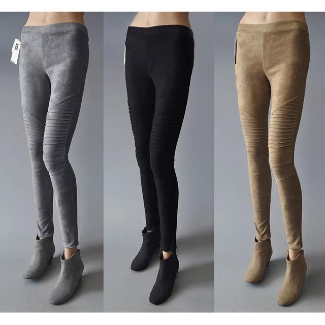 Original Diseño de la Primavera Otoño Mujeres Vintage Suede Pantalones de Piel de Imitación de Cuero Flaco Pantalones de Pinzas de Crucería