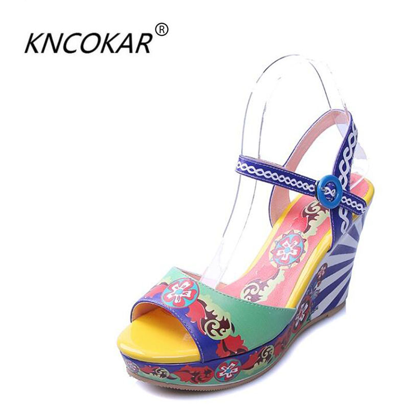 Female wedge sandals in the summer of 2017 the new high heels thick leather bottom printing leisure fish mouth sandals female wi цена
