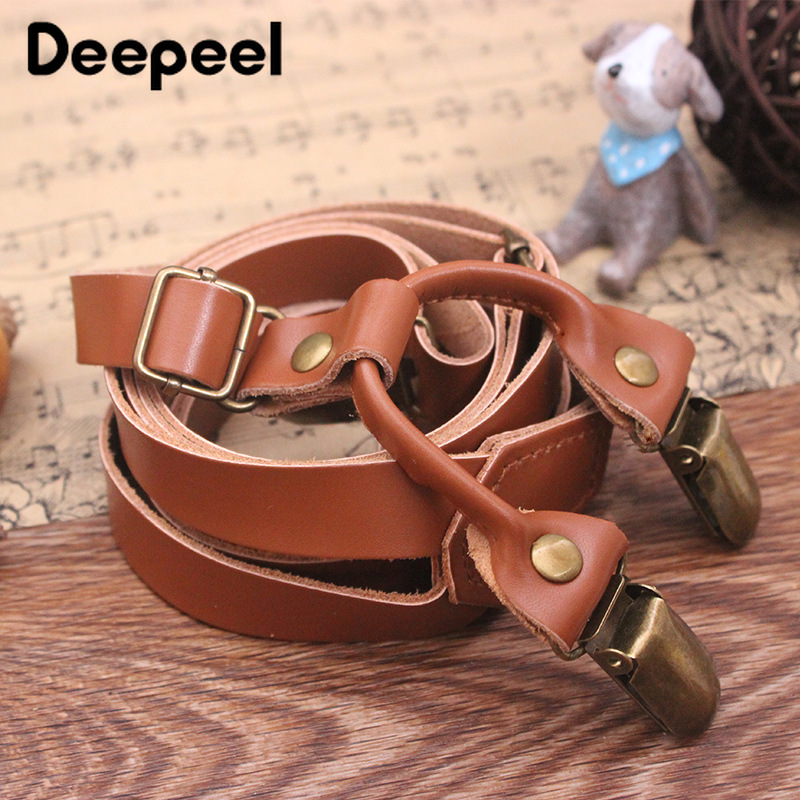 Deepeel 1pc 1.5*105cm Original Manual Second Layer Cowhide Suspenders Simple Adjustable Strap Vintage Unisex Jeans Suspenders