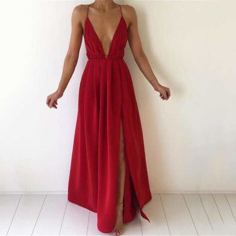 Summer Maxi Dress Women Solid Sexy Deep V-Neck Sleeveless Spaghetti Strap Backless High Split Long Sundress Vestidos 2