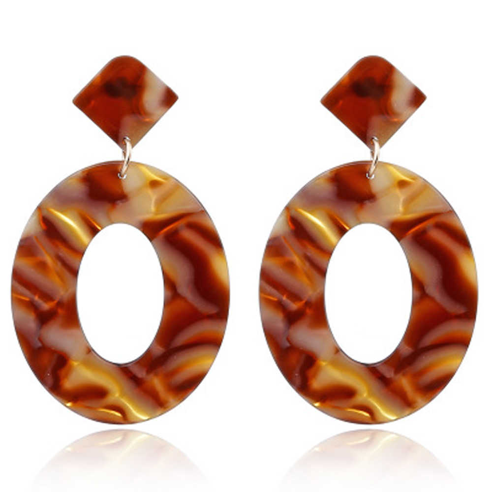 2019 Fashion ZA Jewelry Acrylic Resin Oval Dangle Earrings for Women Geometry Big Circle Tortoiseshell Earrings Acetate Brincos