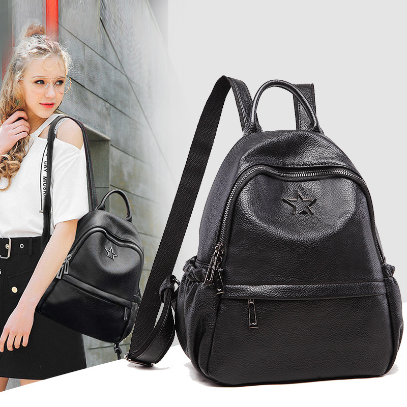 1012a New Fashion European and American shoulder Bag Big capacity Travel knapsack Personality Female Cowhide Leather Backpack
