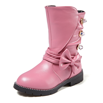 Autumn and winter new pu leather princess high boots bow girl Martin boots big children  ...