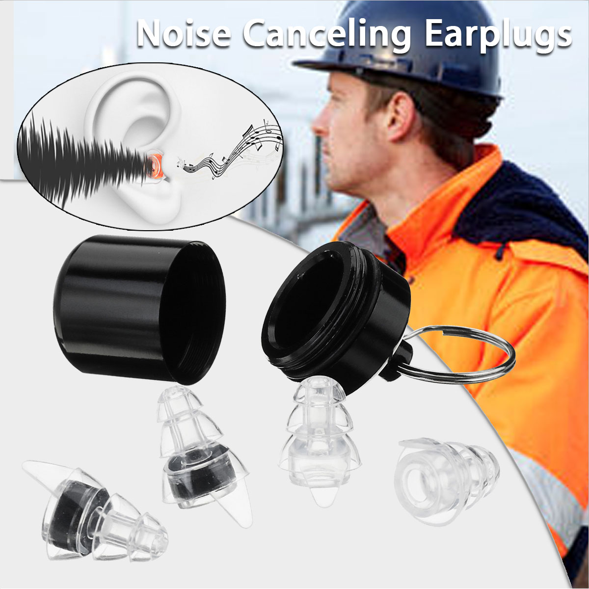 Safurance 2Pairs Noise Cancelling Hearing Protection Earplugs For Concerts Musician Motorcycles Reusable Silicone Ear plugs