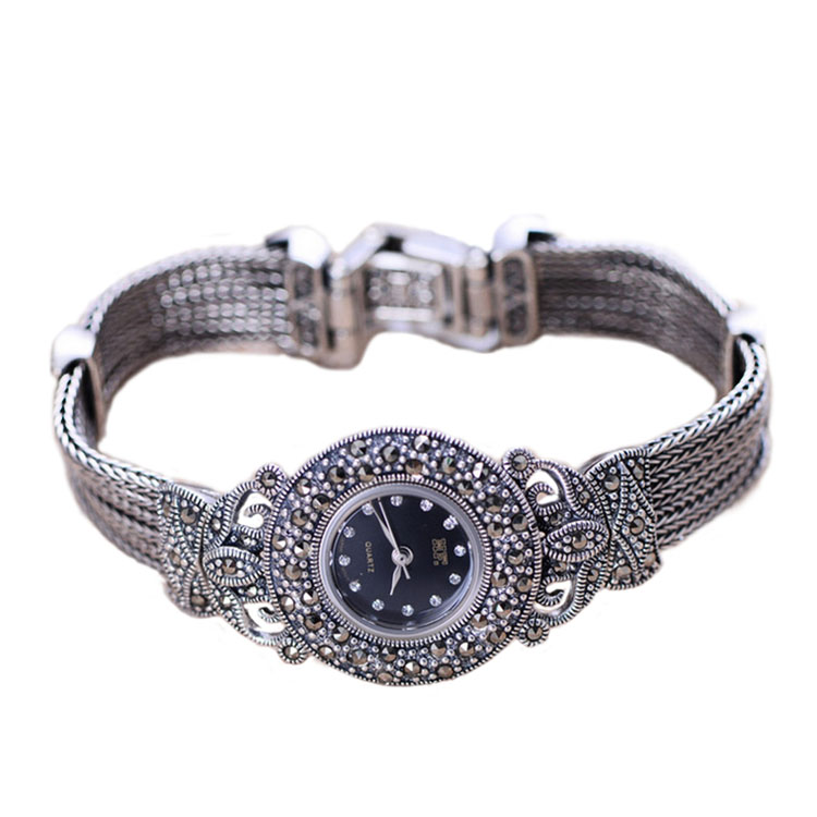 Jade Angel Women's Vintage Style Marcasite Sterling Silver Bracelet Ladies Wristwatch
