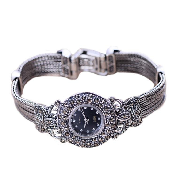 Bracelet en argent Sterling Marcasite de Style Vintage pour femme|Montres femme| |  -