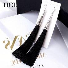 Boho Long Tassel Drop Earrings Women Metal Hollow Silver Pendant 9 Color Fringed Fashion Jewelry Wedding oorbellen Gift