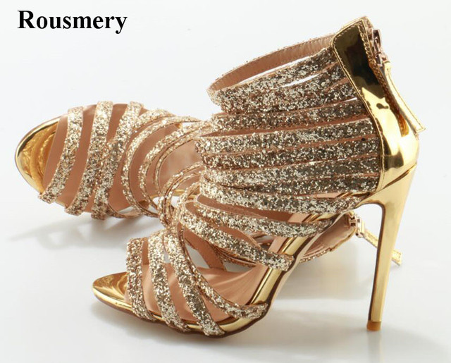 478de48712821 Women New Sexy Straps Cross Gold Rhinestone High Heel Sandals Cut-out  Sequined Gladiator Sandals Formal Dress Shoes