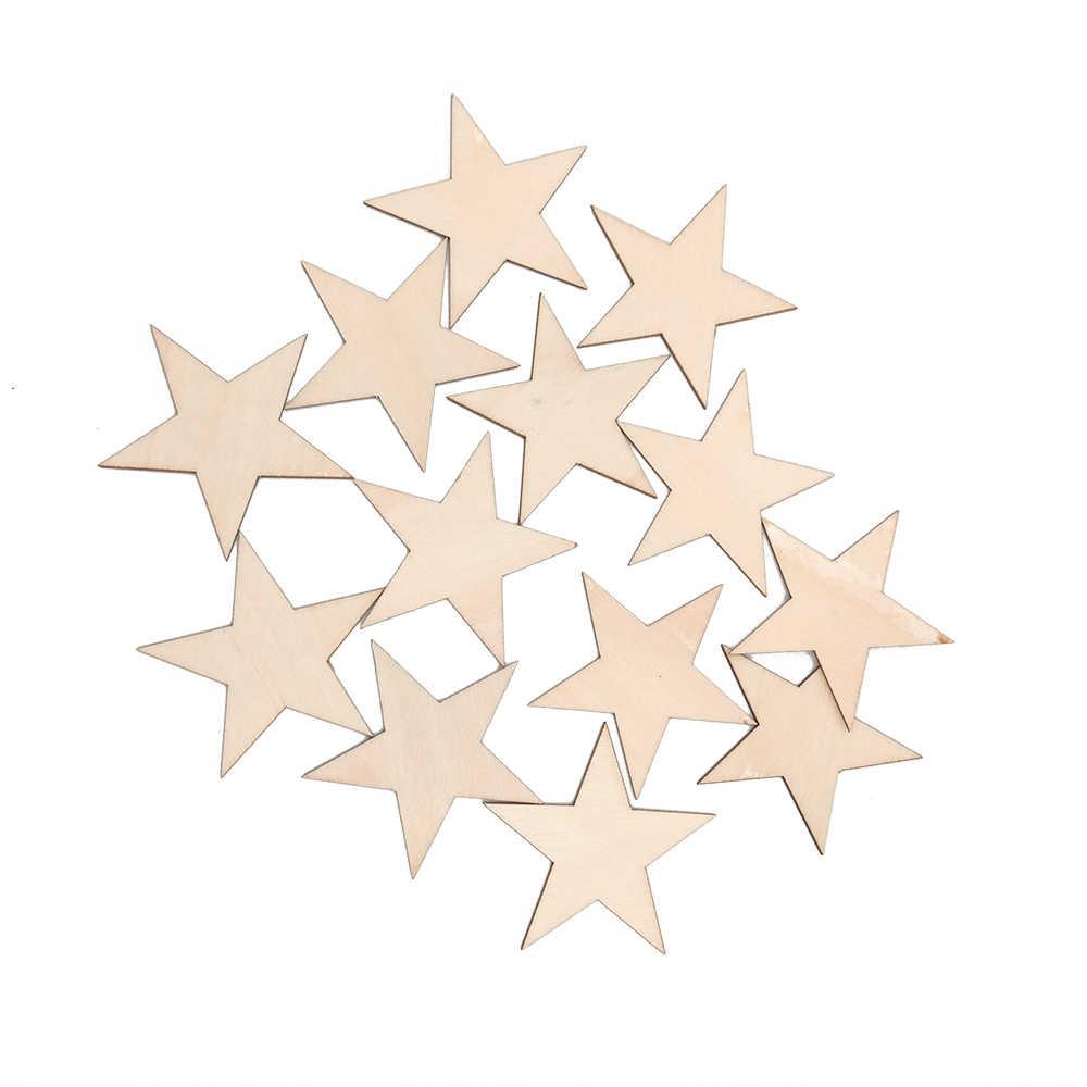 10-80 мм деревянные звезды Вырез формы деревянные украшения для DIY Искусство и ремесла Рождественский Свадебный декор