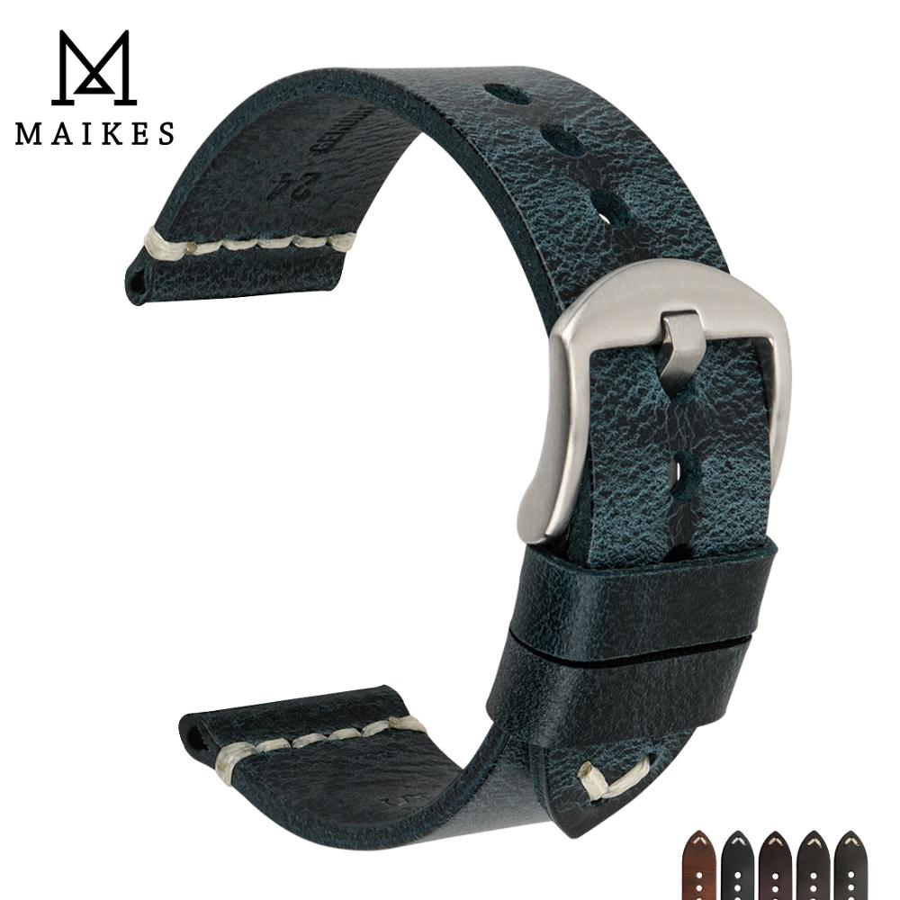 MAIKES Vintage Oil Wax Cow Leather Watch Strap 20mm 22mm 24mm Blue Watchband Handmade Quality Band For Omega