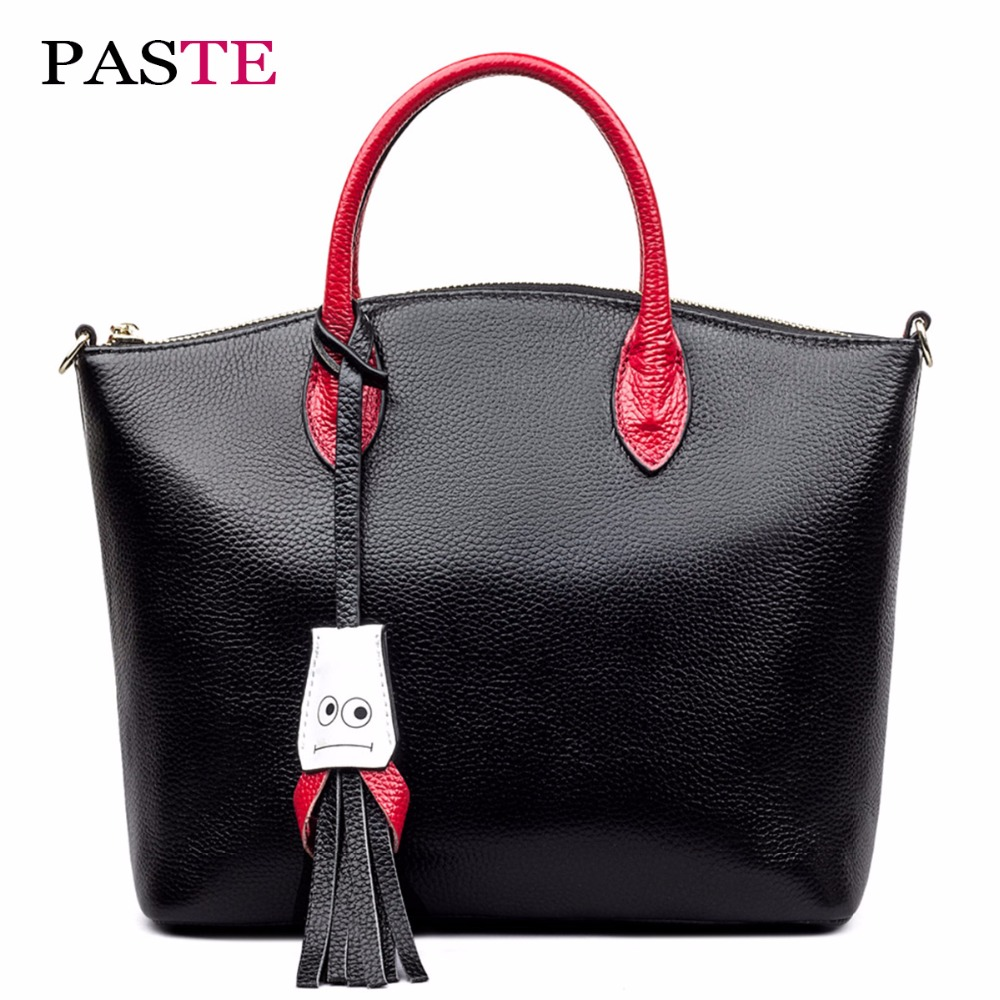 New Fashion Panelled Genuine Leather Women Bags Handbags Famous Brands High Quality Large Capacity Tassel Shoulder Crossbody Bag monf genuine leather bag famous brands women messenger bags tassel handbags designer high quality zipper shoulder crossbody bag