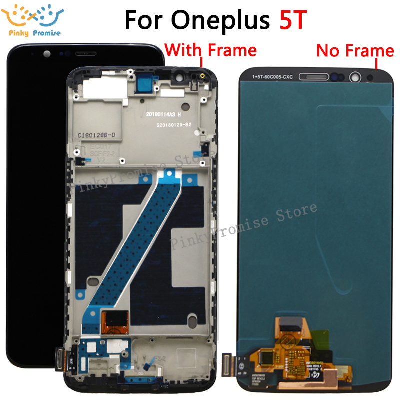 100 Tested AMOLED for Oneplus 5T A5010 LCD Display Touch Screen Digitizer Assembly 2160 1080 Frame