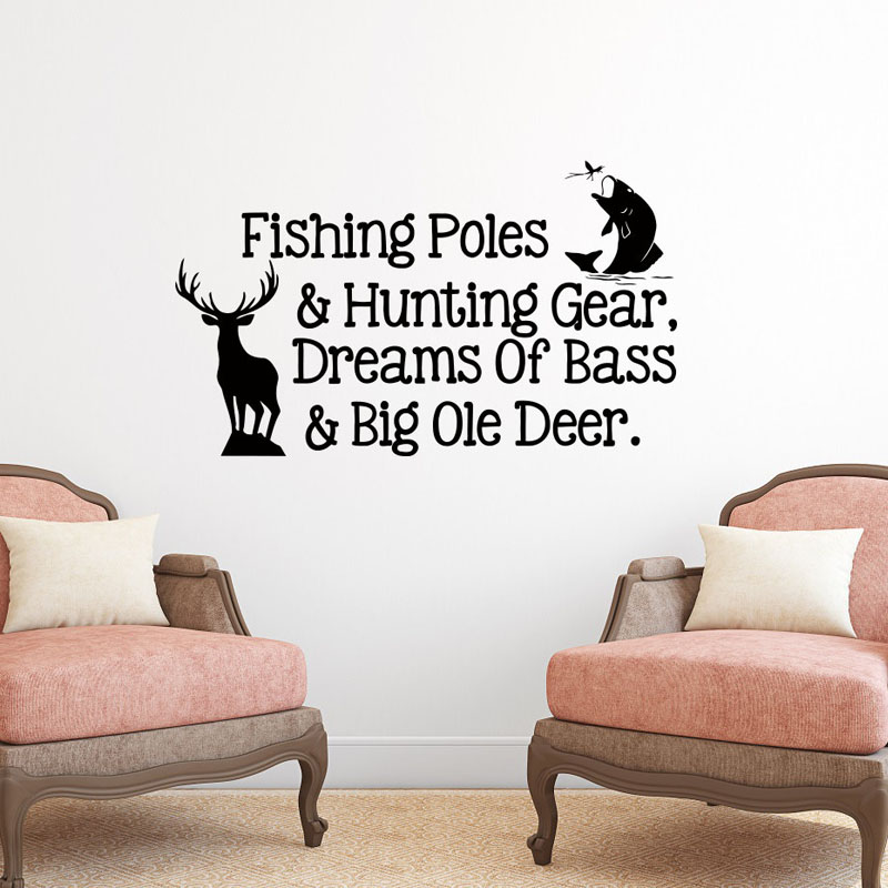 Fishing Poles And Hunting Gear Wall Stickers Quotes Home Decor Vinyl Removable Fish And Deer Wall <font><b>Decals</b></font> <font><b>For</b></font> Kids Room