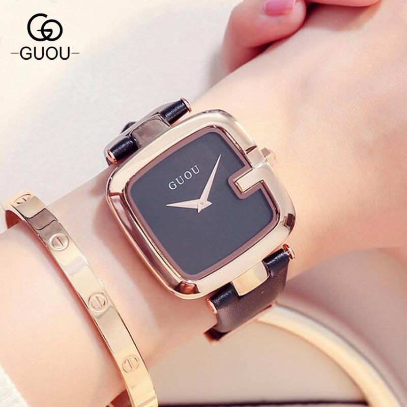 GUOU Brand Quartz Wristwatches Fashion Trendy Genuine Leather Watches Women Casual Dress Luxury Ladies reloje mujer guou wristwatches square quartz watches high grade women s watches genuine leather minimalist style factory outlet wristwatches