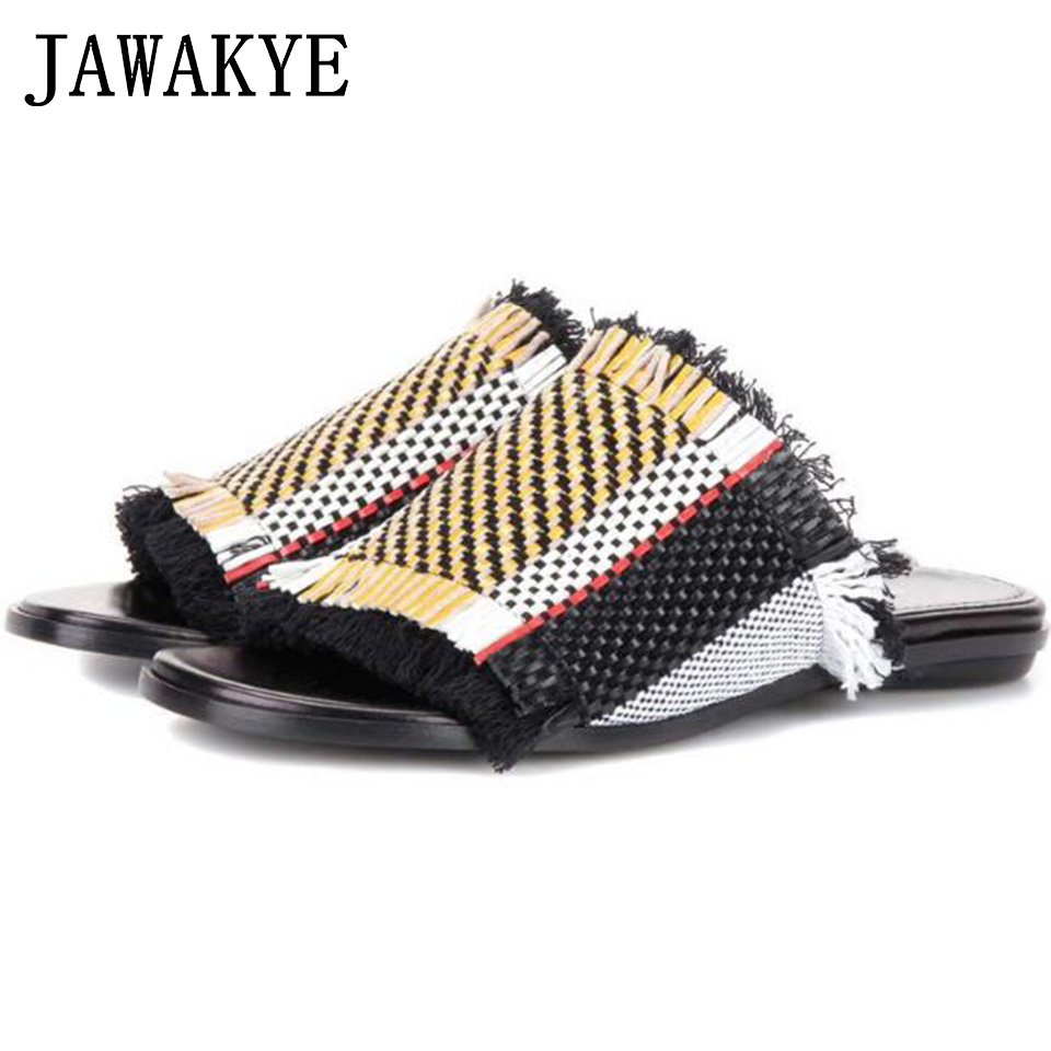 JAWAKYE Lattice Knitted Woven Flat slippers Women Peep Toe Chunky high heel Cozy Slip on Slid Summer Ladies Shoes Beach Slippers