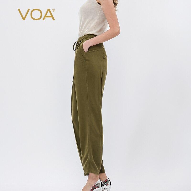 ArmyGreen VOA Seda Pesada Pequena cinta pé Lazer calças Sweatpants Harem Pants estilo Simples das Mulheres casuais K1012