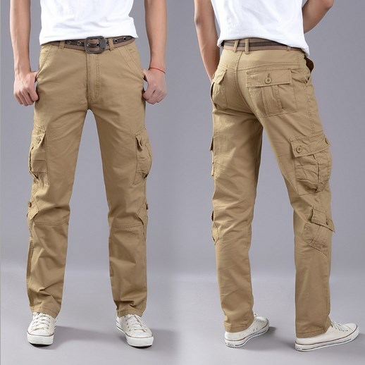 100 Cotton Plus Size Mens Sport Cargo Work Pants Trousers Multi Pocket Outdoor Pants Men Pantalon Homme Black Brown Khaki 40 42