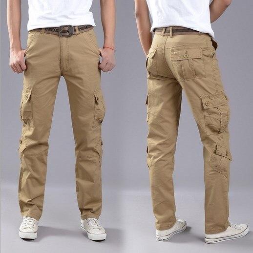 ef5998e543f 100 algodón talla grande hombres deporte Cargo pantalones de trabajo  pantalones Multi bolsillo exteriores hombres Pantalon Homme negro marrón  caqui 40 42 en ...