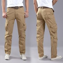 100 Cotton Plus Size Mens Sport Cargo Work Pants Trousers Multi Pocket Outdoor Pants Men Pantalon Homme Black Brown Khaki 40 42(China)