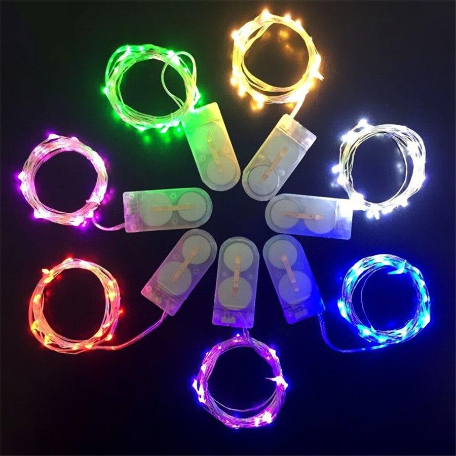 1 Pcs Di Rame Led Luci Leggiadramente 2 M 20 Leds Cr2032 Batteria Del Tasto Azionato Ha Condotto La Luce Della Stringa Di Natale Di Cerimonia Nuziale Del Partito Decorazione Vivace E Grande Nello Stile
