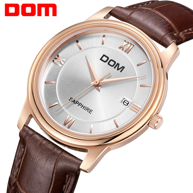 DOM men's watch brand luxury waterproof quartz leather gold watch men Business reloj hombre clock wrist watches for men New M512