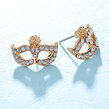 Fashion Jewellery Cute Mask Stud Earrings for Women with Austrian Rhinestones Crystal Earring Stellux Top Quality Anti Allergy(China)