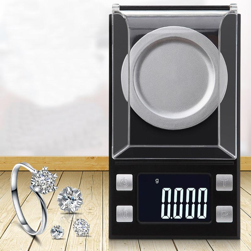 50g/0.001g 100g/0.001g LCD Digital Jewelry Scales High Precision Libra Medicinal Weight Scale Portable Mini Electronic Balance 100g 0 1g lab balance pallet balance plate rack scales mechanical scales students scales for pharmaceuticals with weight tweezer