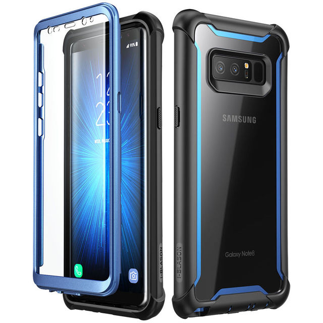 For Samsung Galaxy Note 8 Case Original i Blason Ares Series Full Body Rugged Clear Bumper Case with Built in Screen Protector