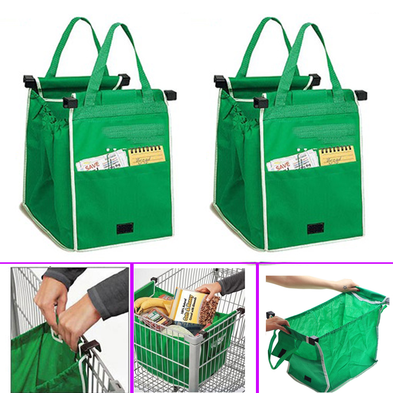 Drop Shipping 1 Pcs Shopping Bag Foldable Tote Reusable Shop Bags Packing Cubes Reusable Eco-Friendly Storage Washable Green