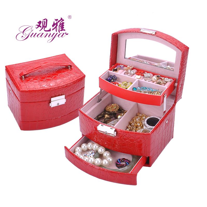2018 New Jewelry Box 3 layers Jewelry case Jewelry Package Storage for Holding Ring Necklace Bracelet Earring Lady Gift