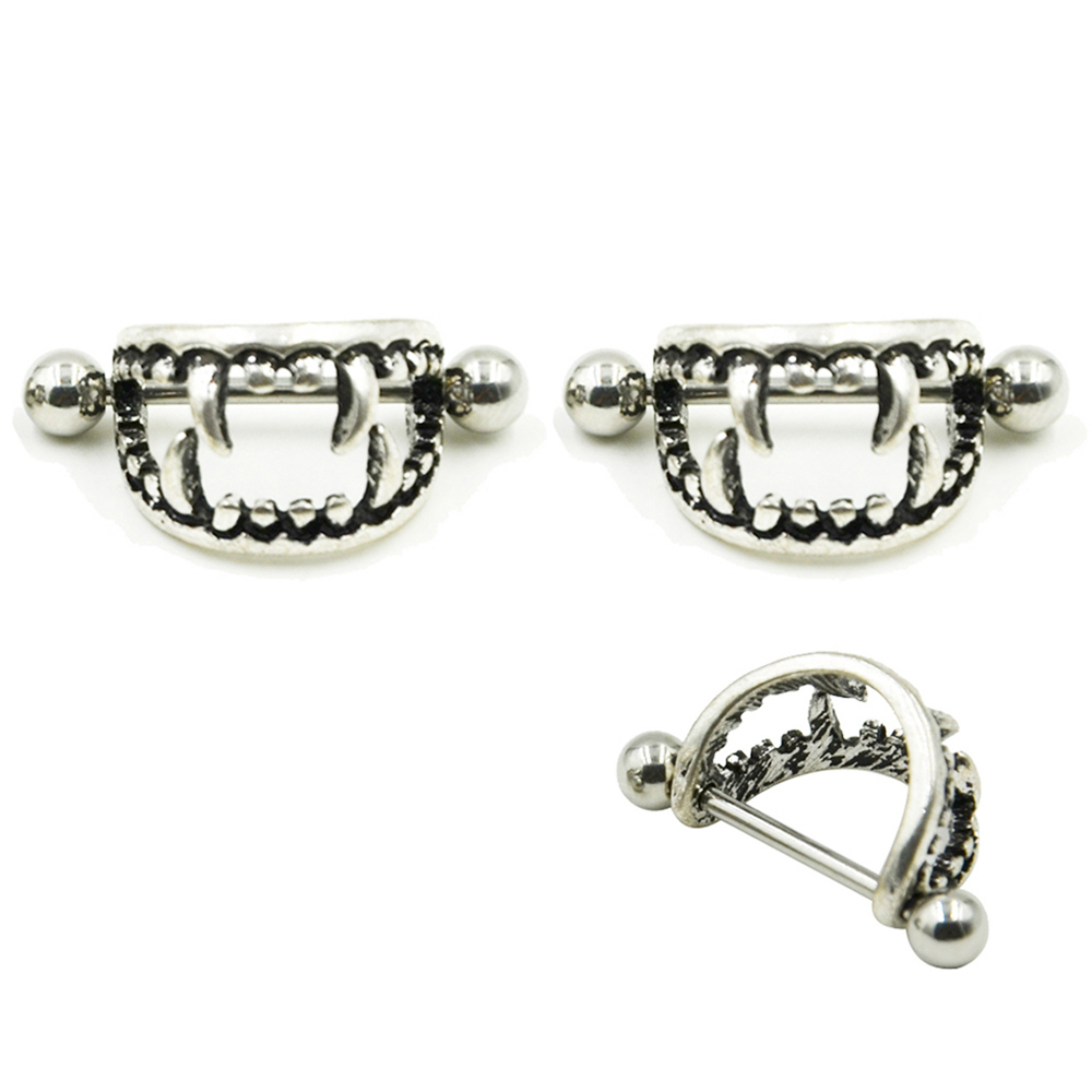 Pair of 14G Stainless Steel Barbell Love Bite Fangs Vampire Nipple - Fashion Jewelry - Photo 6
