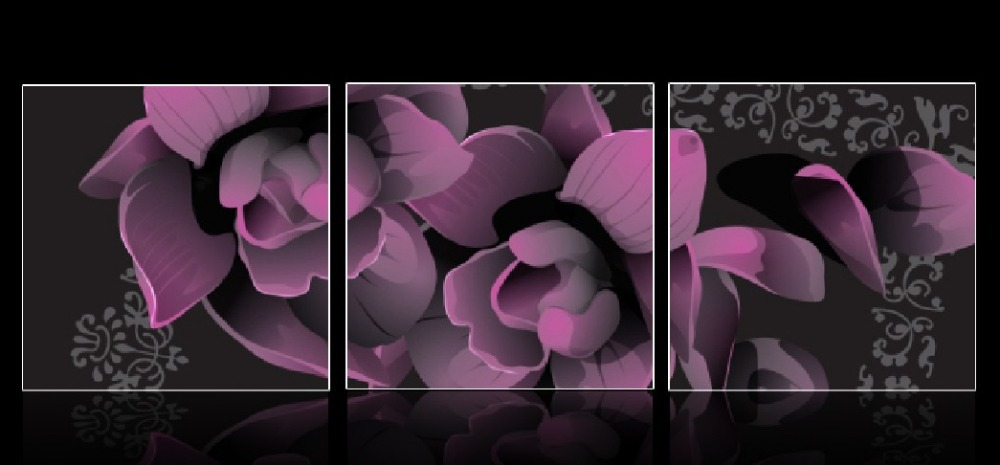3 Panel Modern Painting Home Decorative Art Picture Paint On Canvas Prints Dark Purple Flowers In Calligraphy From Garden