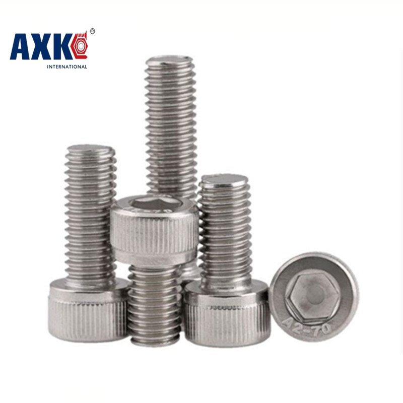 2018 Wood Screws Axk M5 Din912 Hexagon Socket Head Cap Machine Screws Allen Metric 304 Stainless Steel Bolt Hex For Computer 50pcs lots carbon steel screws black m2 bolts hex socket pan head cap machine screws wood box screws allen bolts m2x8mm