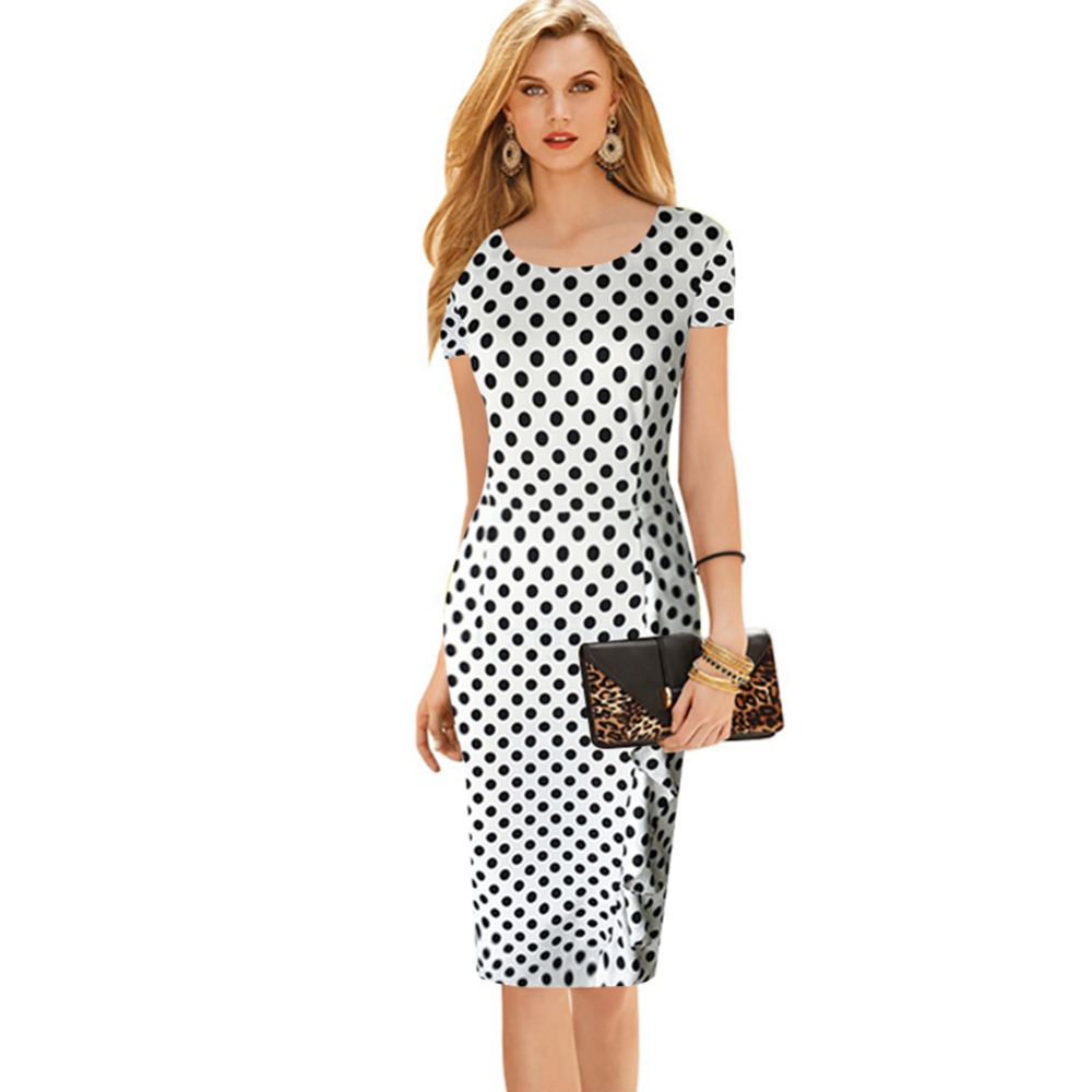 Oxiuly New Women Vintage Dot Print Short Sleeve O Neck Stretchy Slimming Party Dress Vintage Knee Length Dress Plus Size S 4XL in Dresses from Women 39 s Clothing