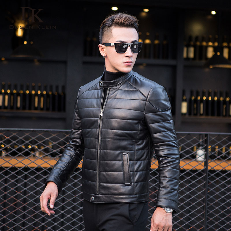 Dusen Klein Men Genuine Leather Down Jacket and Coat with Nature Mandarin Collar Men Wave cut