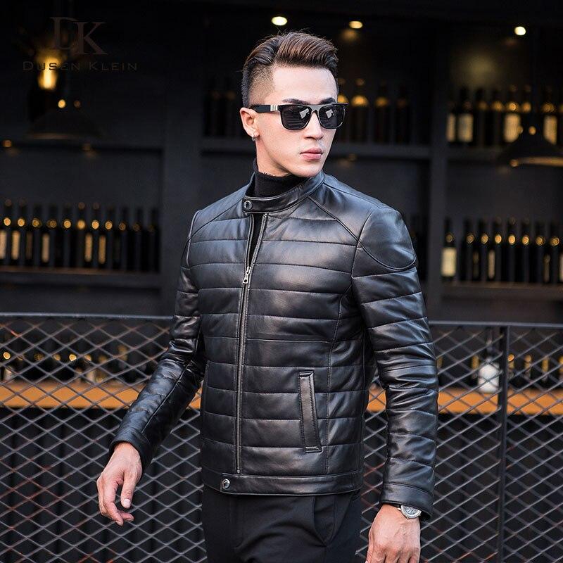 Dusen Klein Uomini Del Cuoio Genuino Imbottiture Giacca e Cappotto con la Natura Collare Del Mandarino Uomo Onda cut moto giacca Balck 14B0033
