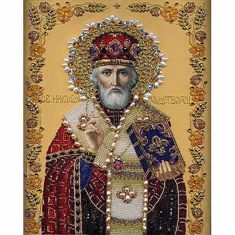 High Quality DIY diamond painting cross stitch religion St. Nicholas icon diamond embroidery 5D Inlaid decorative painting